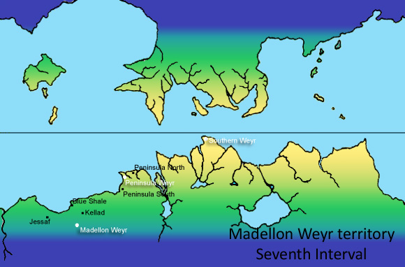 A map of Madellon Weyr's territory in the Seventh Interval